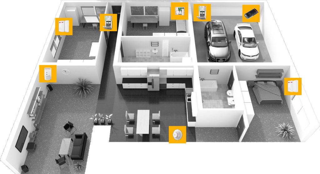 Sehen Sie sich an, wie die Installation der Gefahrenmeldeanlage / Alarmanlagein einem Bungalow mit Garage aussehen kann.